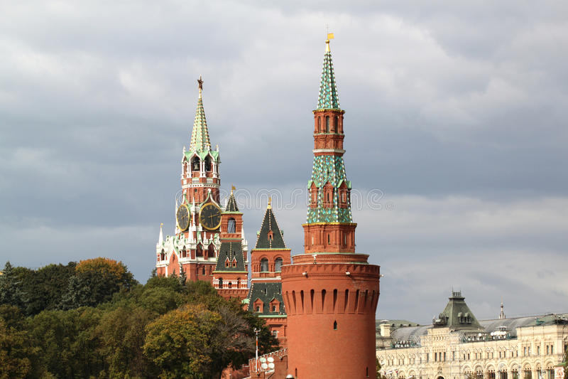 Download Kremlin towers in Moscow stock image. Image of flags - 33993585