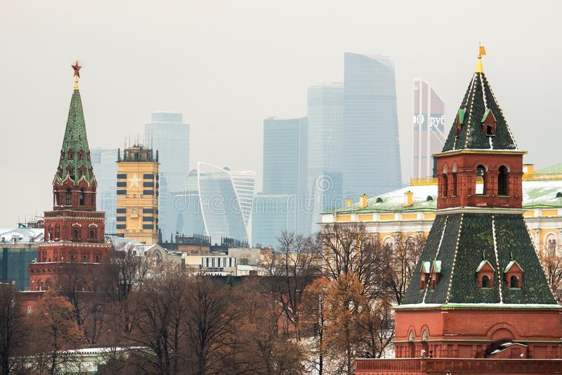 Kremlin towers and skyscrapers. Of the International business center Moscow City in Russia royalty free stock images