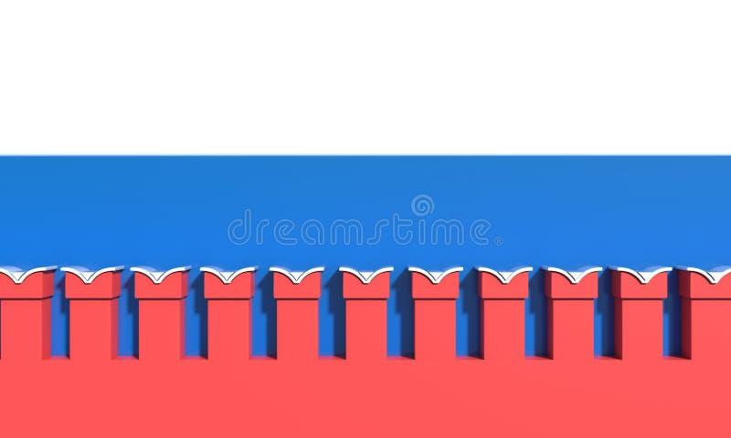Kremlin vägg flagga i bakgrunden illustrationen 3d framför vektor illustrationer