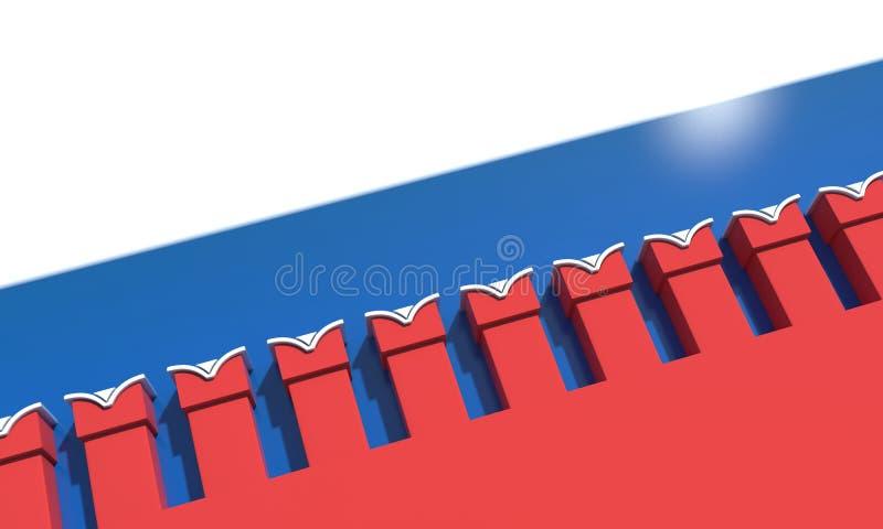 Kremlin vägg flagga i bakgrunden illustrationen 3d framför stock illustrationer