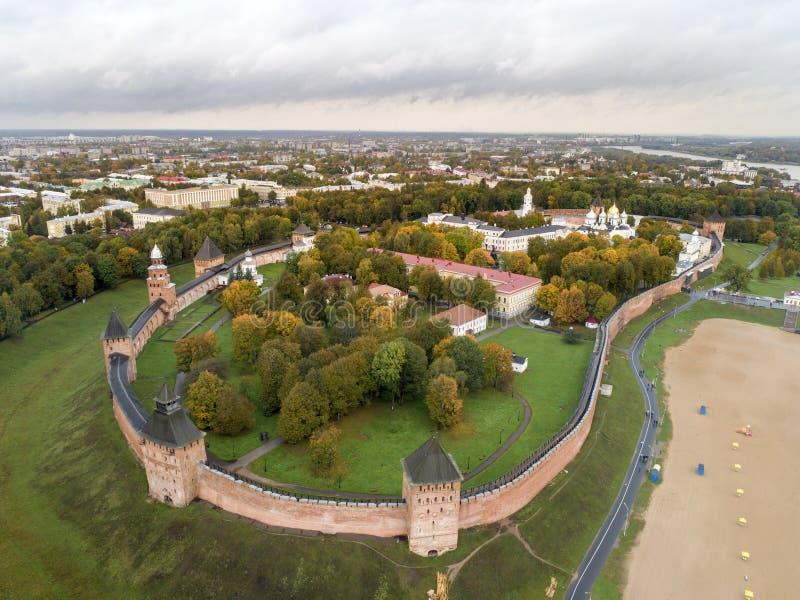 Kremlin, vista superior, Veliky Novgorod, Russia-6 10 2018 imagens de stock
