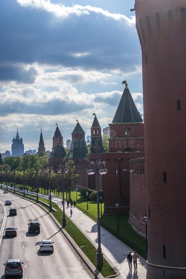 Kremlin wall towers in Moscow. Russia royalty free stock photography
