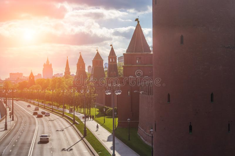 Kremlin wall towers in Moscow stock photo