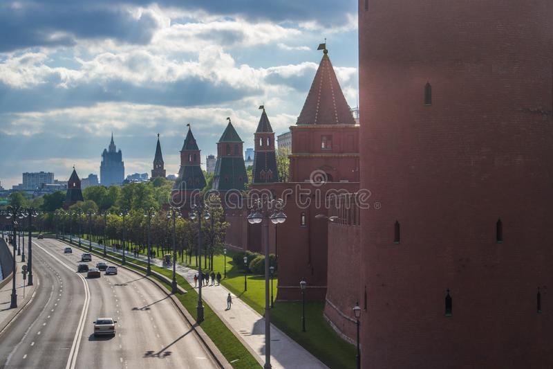Kremlin wall towers in Moscow stock photos