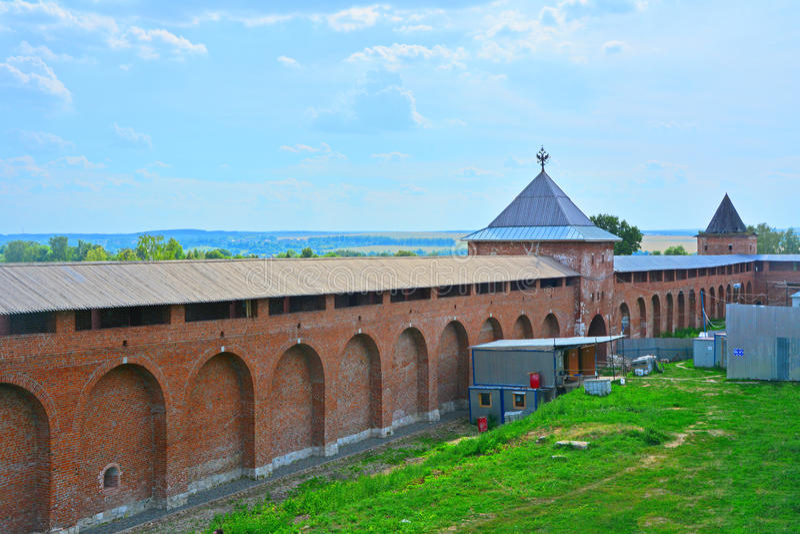 Kremlin walls with Spasskaya Gate Tower and Tayninskaya Gate Tower in Zaraysk city royalty free stock images