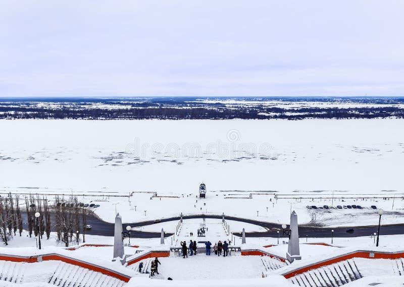 Kremlowski Nizhny Novgorod, Chkalov drabina zdjęcie royalty free