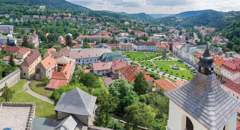 Kremnica - The outlook from the tower of St. Catherine church to the town and Safarikovo square.  royalty free stock photo
