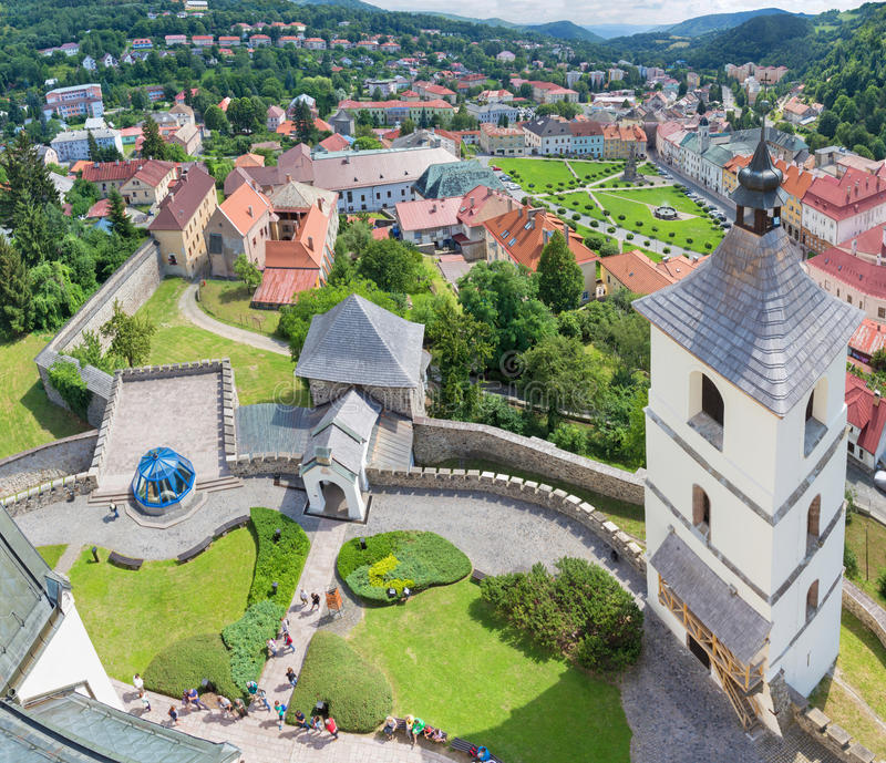 Kremnica - The outlook from the tower of St. Catherine church to the town and Safarikovo square.  royalty free stock photography