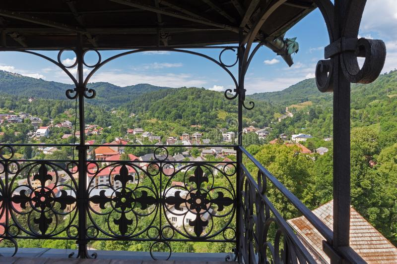 Kremnica - The outlook from the tower of St. Catherine church to the town and Safarikovo square.  stock images
