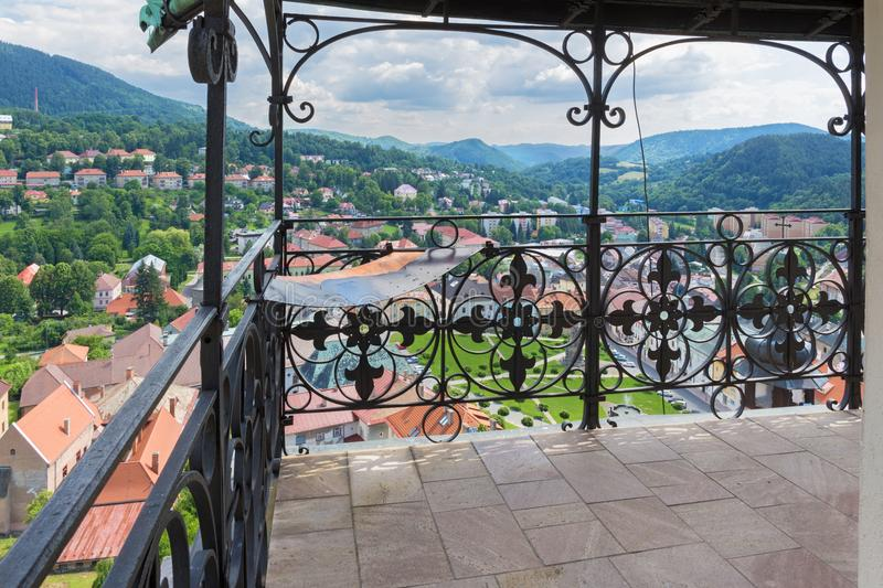 Kremnica - The outlook from the tower of St. Catherine church to the town and Safarikovo square.  stock photos