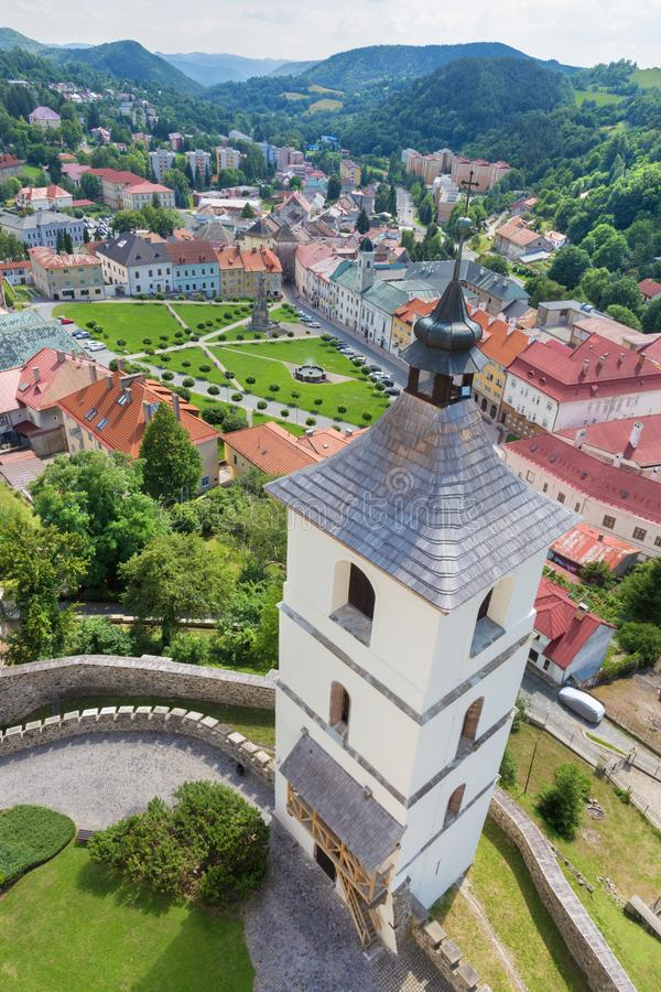 Kremnica - The outlook from the tower of St. Katherine church to the town and Safarikovo square.  royalty free stock photography