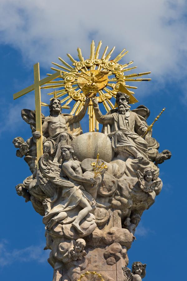 Kremnica - The top of baroque Holy Trinity column on the Safarikovo square by Dionyz Ignac Staneti 1765 - 1772 royalty free stock image