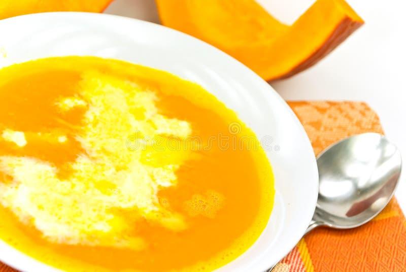 kremowa zupa dyniowa bita zdjęcie stock
