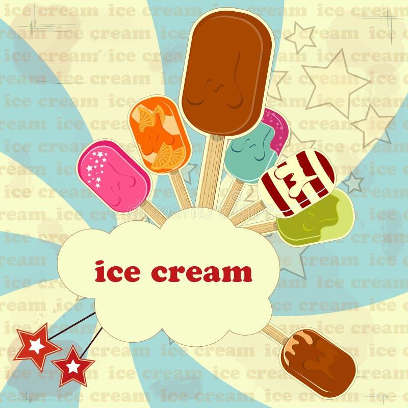 kremowy lodowy plakatowy rocznik ilustracji