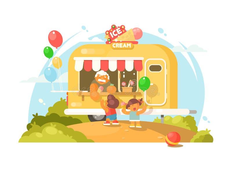 kremowy lodowy samochód dostawczy royalty ilustracja