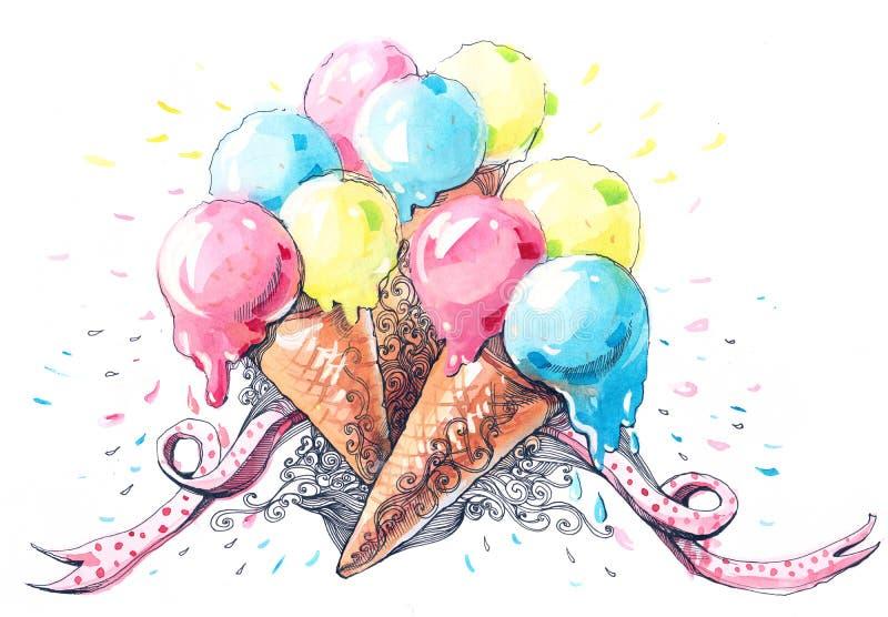 kremy szyszek tła czekoladowe lody lodu nad pistacjowym waniliowym truskawkowy white ilustracji