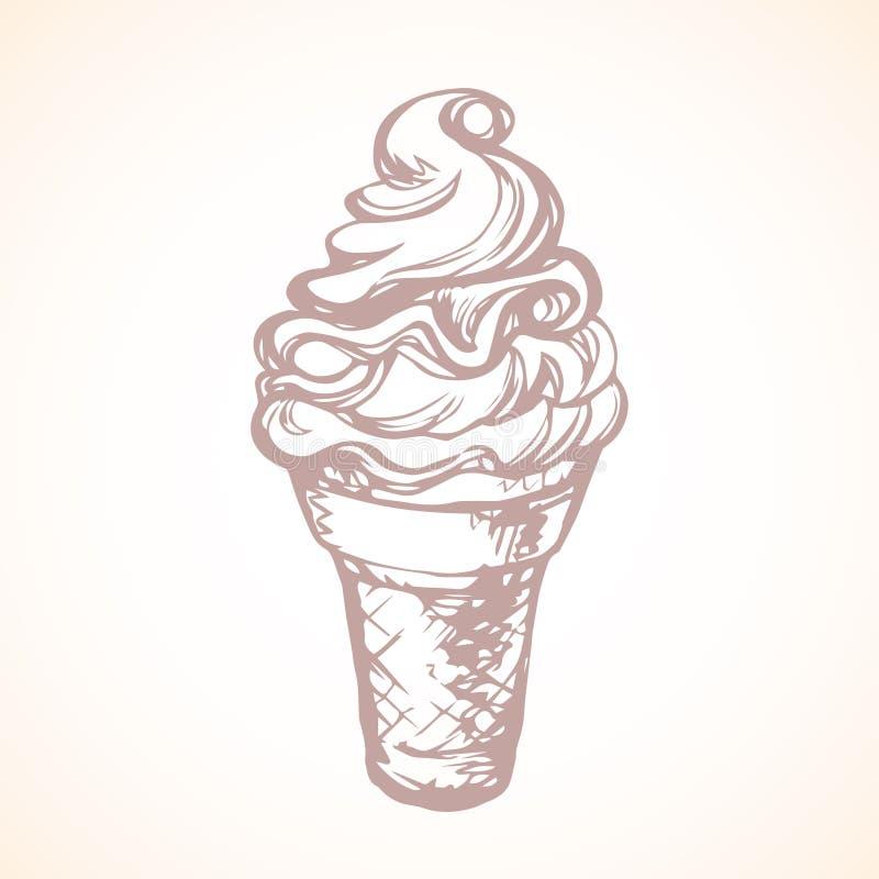 kremy szyszek tła czekoladowe lody lodu nad pistacjowym waniliowym truskawkowy white rysuje tła trawy kwiecistego wektora royalty ilustracja