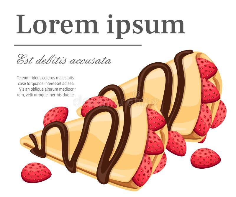 Krepp mit Erdbeer- und der Schokoladegeschmackvollem Pfannkuchenillustrationsplatz für Ihren Text lokalisiert auf weißer Hintergr vektor abbildung