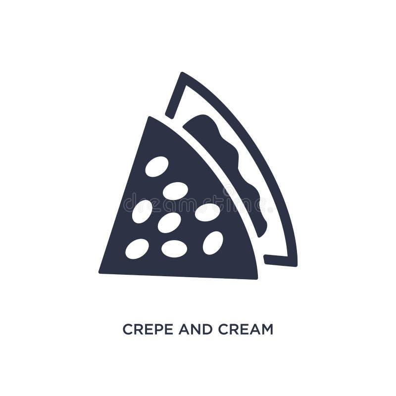 Krepp- und Cremeikone auf weißem Hintergrund Einfache Elementillustration vom Bistro- und Restaurantkonzept vektor abbildung