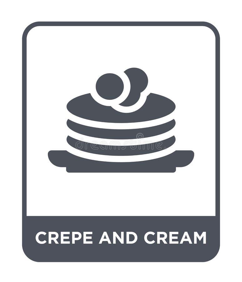 Krepp- und Cremeikone in der modischen Entwurfsart Krepp- und Cremeikone lokalisiert auf weißem Hintergrund Krepp- und Cremevekto lizenzfreie abbildung