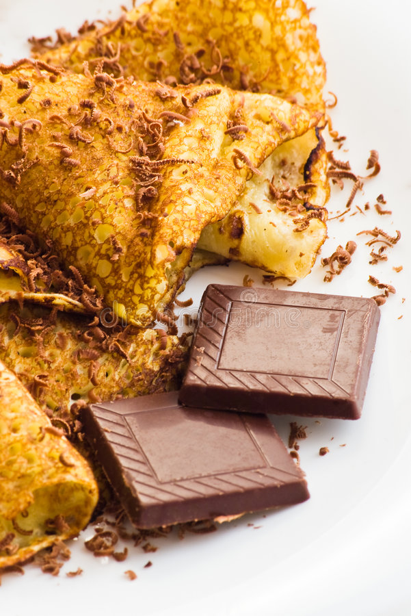 Krepps mit Schokolade stockfotografie