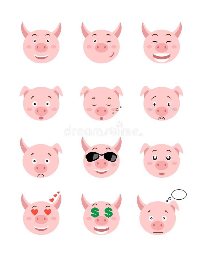 Kreskówek świniowate emocje ustawiać Ono uśmiecha się, zanudzającej, enamored, śpiącej, smutnej i innej świni emocje inkasowe, royalty ilustracja