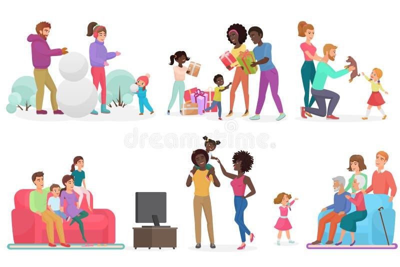 Kreskówek sceny życie rodzinne set Matka, ojciec, córka i syn, Rodzice z dzieciakami ogląda TV, odprowadzenie, bawić się ilustracja wektor