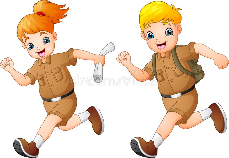 Kreskówka żartuje bieg z safari kostiumami royalty ilustracja