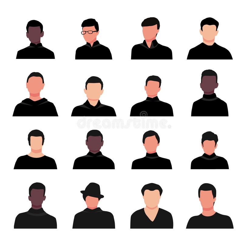 Kreskówka faceta portretów wektoru przystojna młoda ilustracja Obsługuje twarzy avatar ustawiającego odizolowywającym na białym t ilustracji