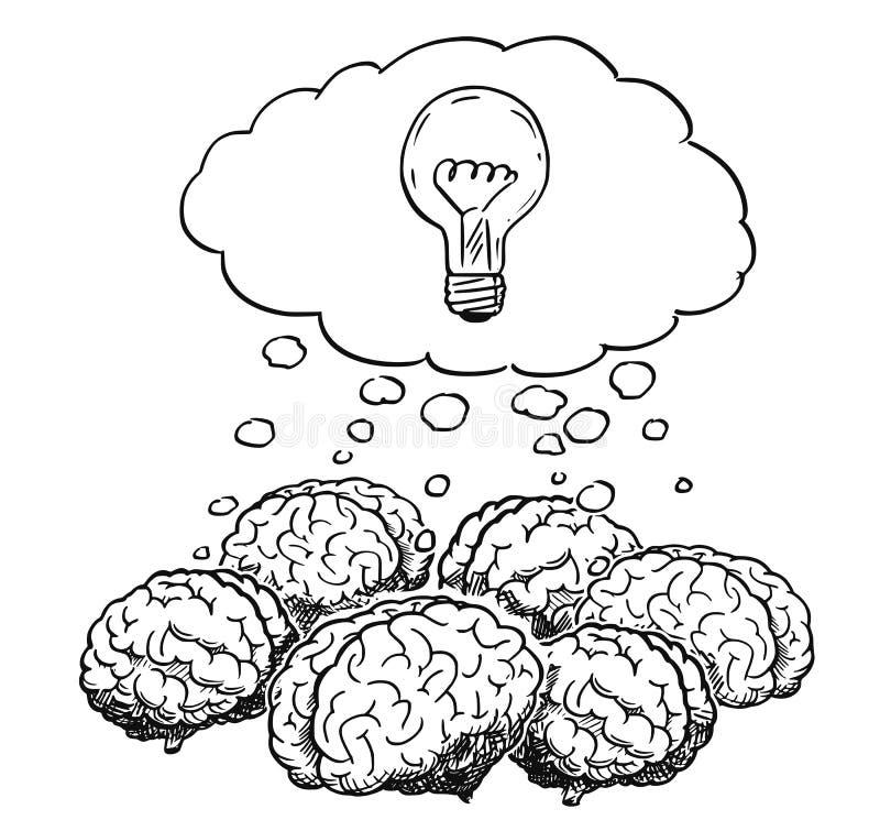 Kreskówka grupa Myśleć Wpólnie Podczas Brainstorming ludzcy mózg ilustracji