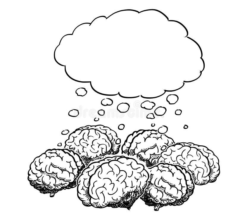 Kreskówka grupa Myśleć Wpólnie Podczas Brainstorming ludzcy mózg royalty ilustracja