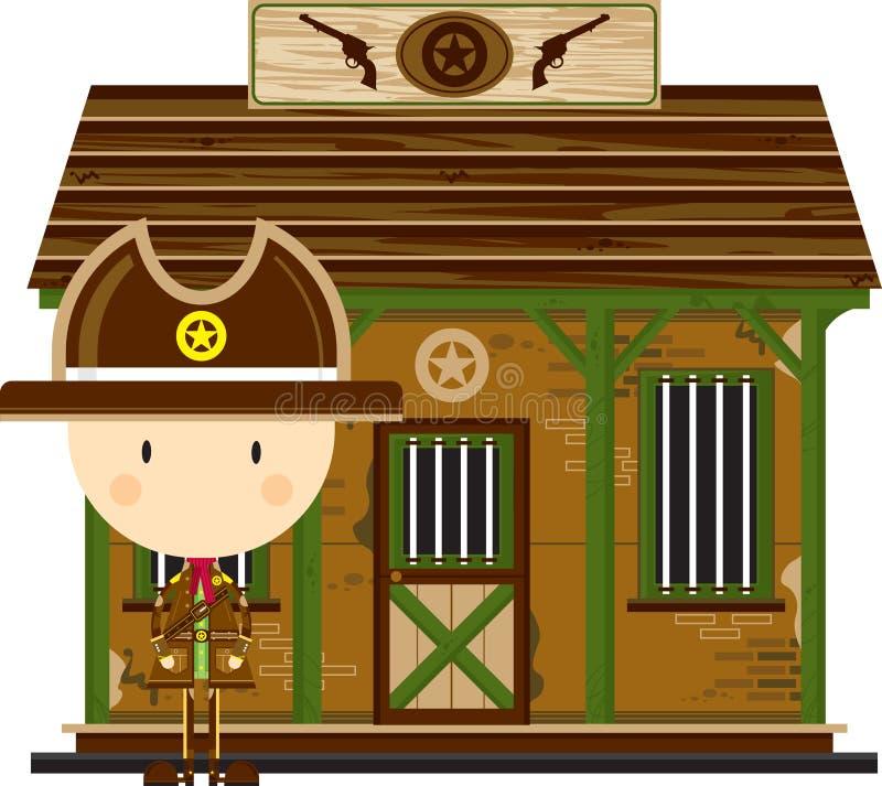 Kreskówka Kowbojski szeryf przy więzieniem ilustracji