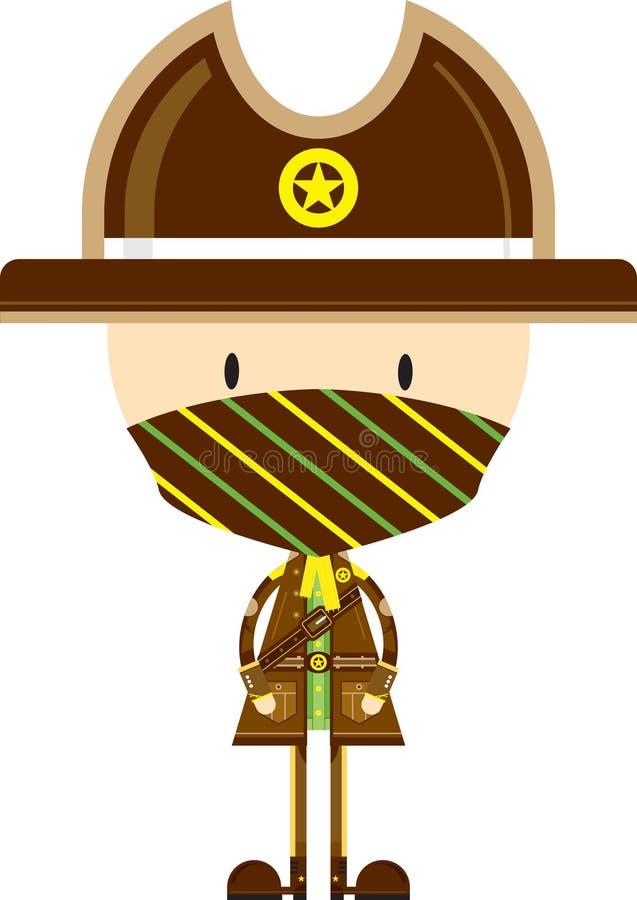Kreskówka Kowbojski szeryf w masce ilustracja wektor