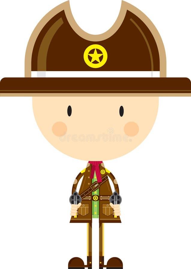 Kreskówka Kowbojski szeryf z pistoletami ilustracji