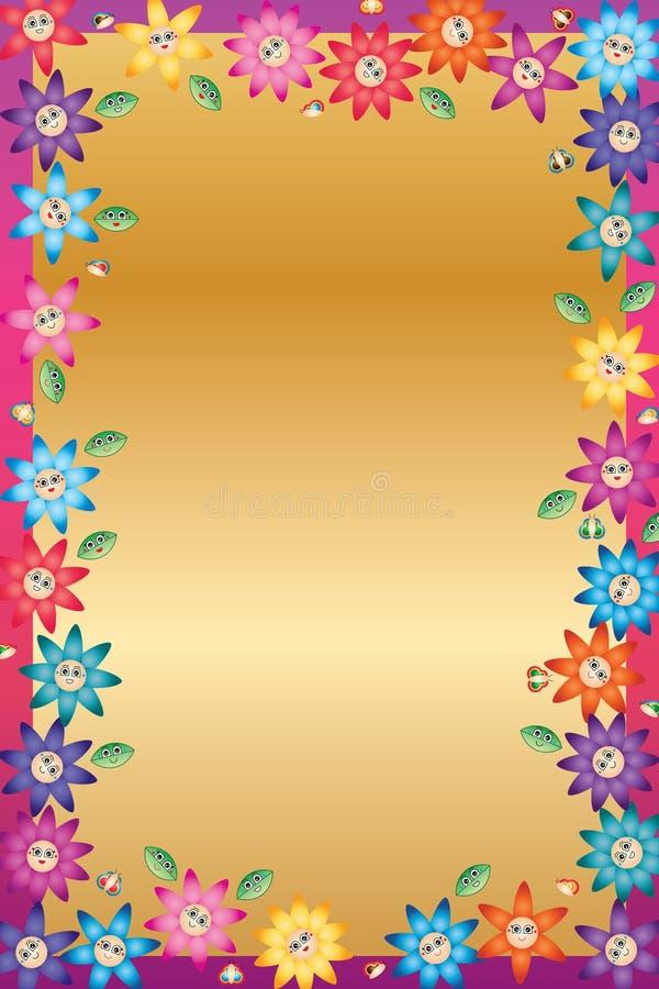 Kreskówka liścia motyliego kwiatu uśmiechu rama ilustracja wektor
