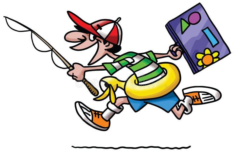 Kreskówka mężczyzna iść wakacje z jego życia boja walizki i połowu prącia wektorem ilustracja wektor