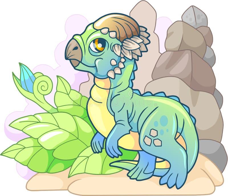 Kreskówka mały dinosaur Pachycephalosaurus, prehistoryczny zwierzę, śmieszna ilustracja ilustracja wektor