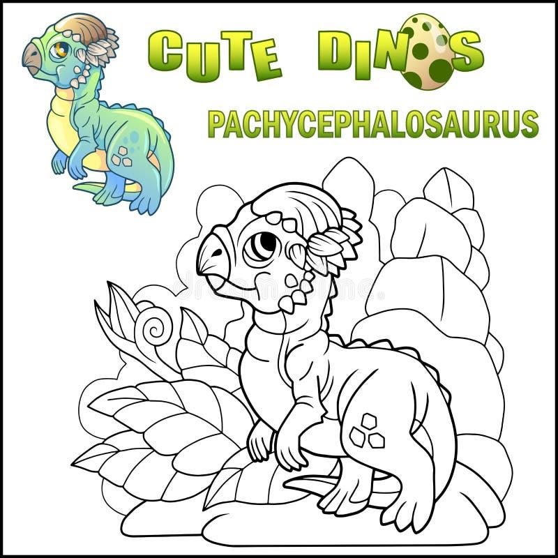 Kreskówka mały dinosaur Pachycephalosaurus, prehistoryczny zwierzę, śmieszna ilustracja royalty ilustracja