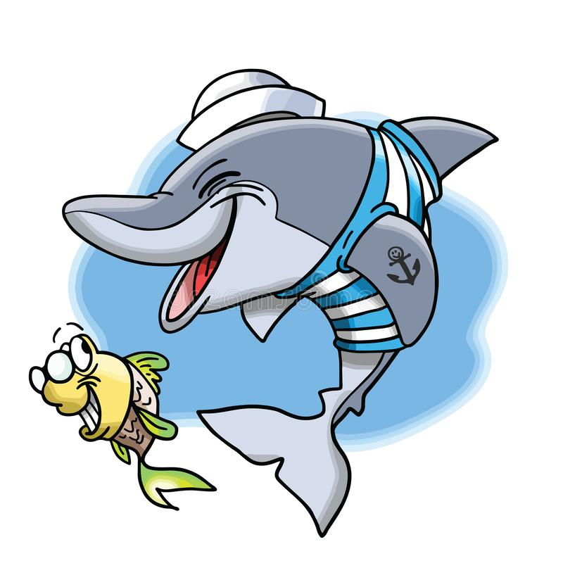Kreskówka morski delfin i jego śliczny mały rybi przyjaciel ilustracji