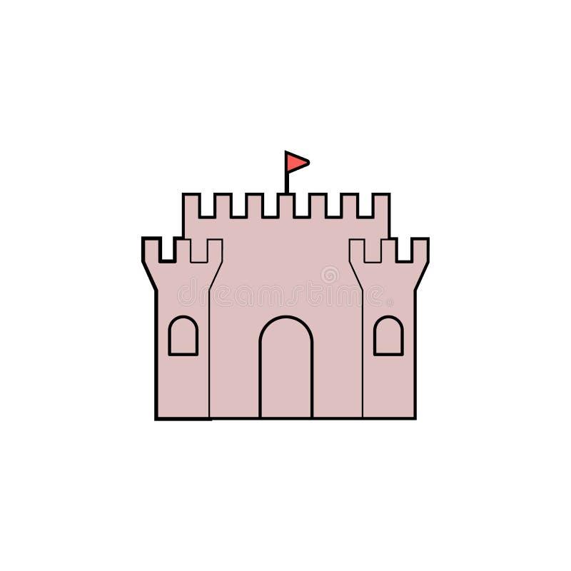 Kreskówka piaska kasztelu zabawki barwiona ikona Znaki i symbole mogą używać dla sieci, logo, mobilny app, UI, UX ilustracji