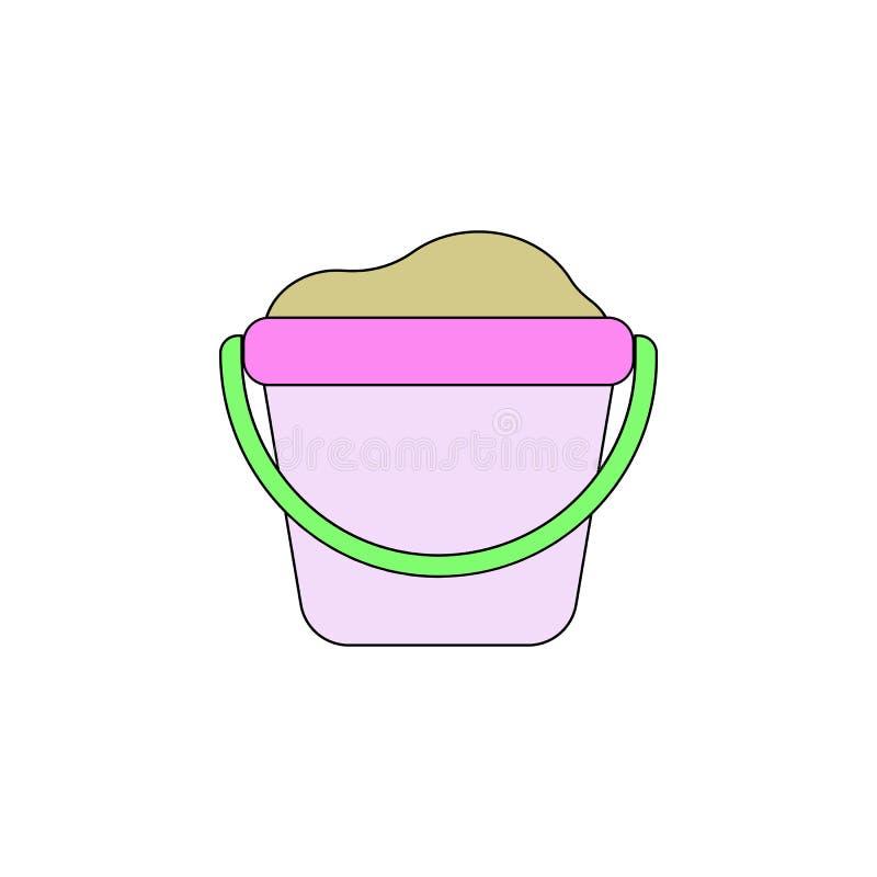 Kreskówka piaska zabawki barwiona ikona Znaki i symbole mogą używać dla sieci, logo, mobilny app, UI, UX ilustracji