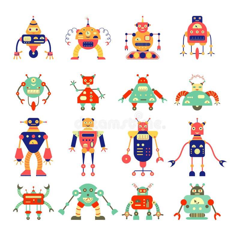 Kreskówka robota różna kolekcja w retro kolorze ilustracji
