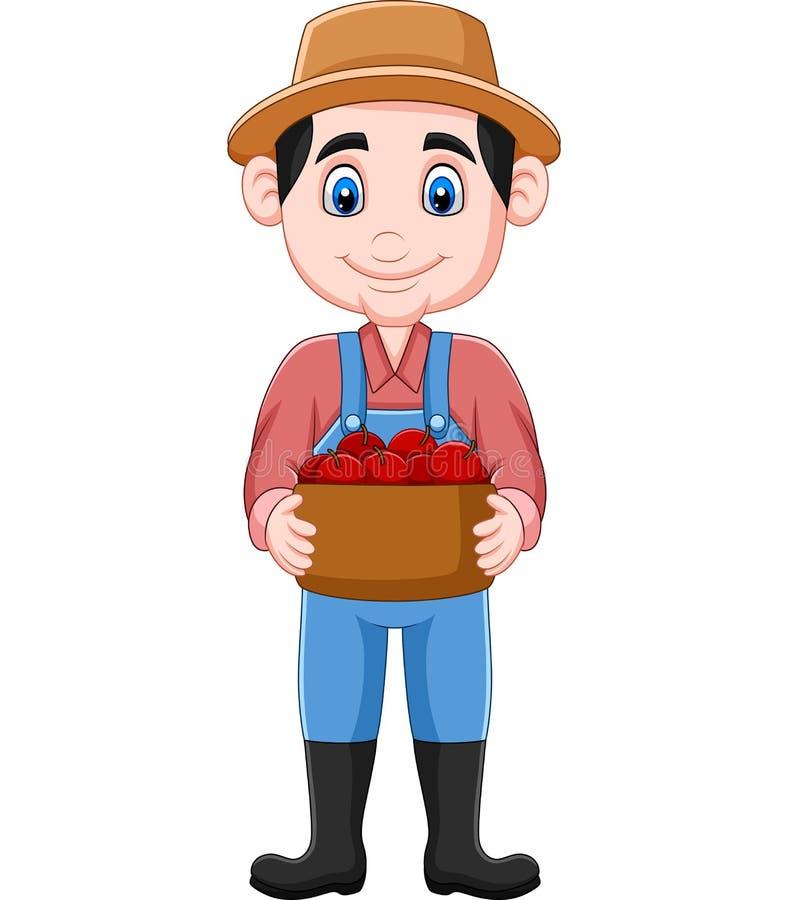 Kreskówka rolnik trzyma kosz jabłka royalty ilustracja