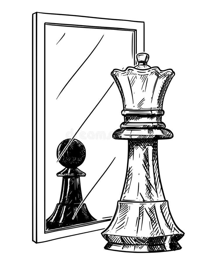 Kreskówka rysunek Biały Szachowy królewiątko Odbija w lustrze jako Czarny pionek, zaufanie metafora ilustracja wektor