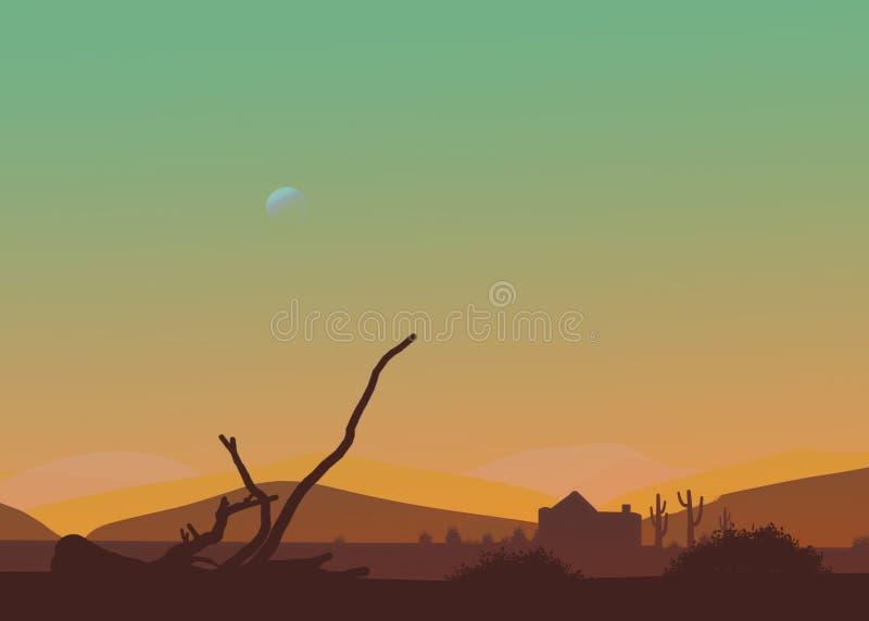 Kreskówka westernu pustyni zmierzch lub popołudnie Księżyc w niebie, kaktus, buda, suszy gałąź obraz stock