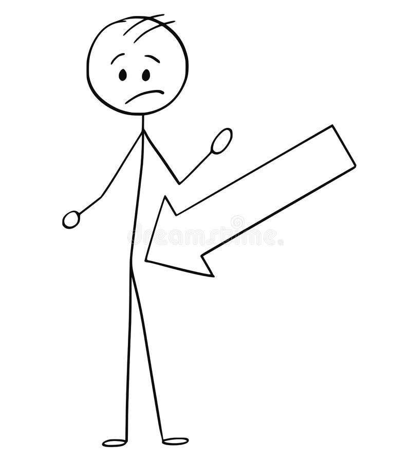 Kreskówka Wskazuje przy Crotch mężczyzna Duża strzała ilustracja wektor