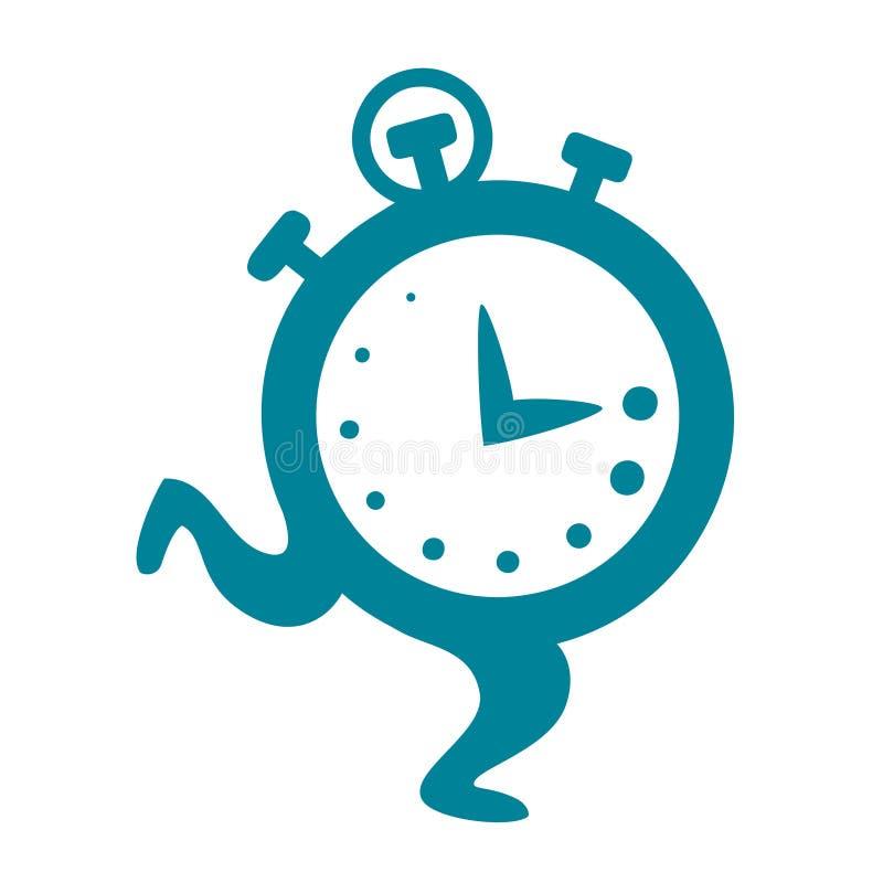 Kreskówka zegarowy bieg Płaski wektor, ilustracja odizolowywająca na białym tle ilustracji