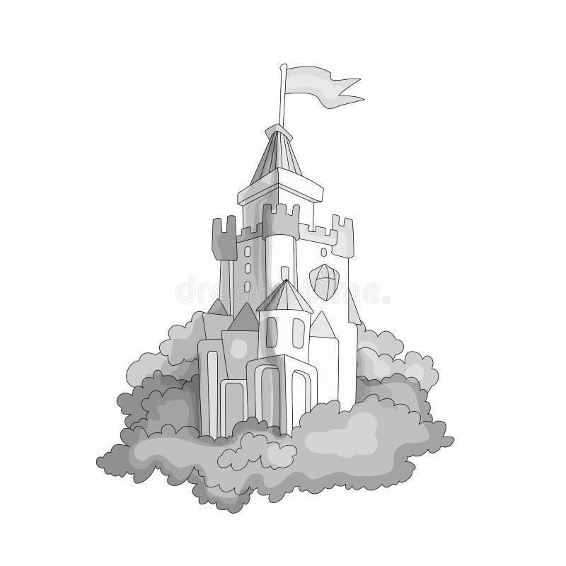 Kreskówki średniowiecznej zabawy bezbarwny kasztel z flagą i trawą Magiczny kreskówka kasztel dla princess od bajki ikony śmieszn royalty ilustracja