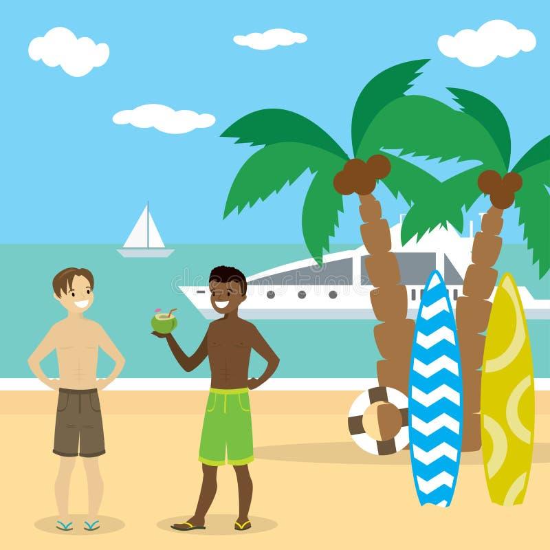Kreskówki amerykanin afrykańskiego pochodzenia i caucasian nastolatka chłopiec w swimsuit ilustracji