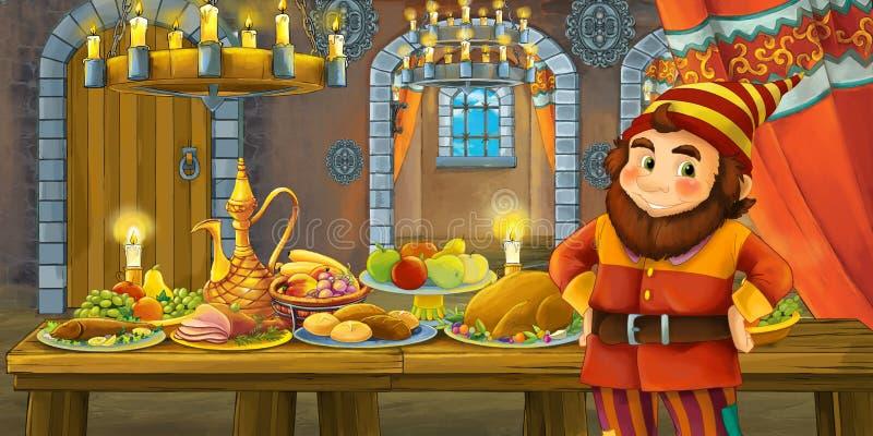 Kreskówki bajka z karłowatym książe w kasztelu stołem pełno karmowy uśmiechnięty i przyglądający ilustracji